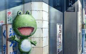 Картинка улица, лягушка, иероглифы, манга, магазин, Kowarekake no Orgel