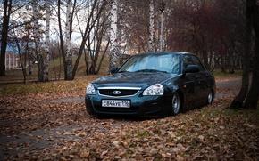Картинка машина, авто, Lada, auto, лада, Priora, Приора, 2170, очень листья