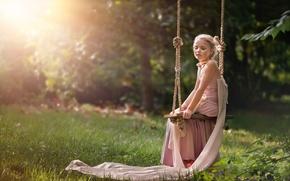 Картинка лето, солнце, качели, платье, девочка, Serenity