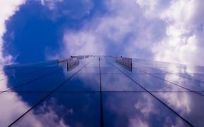 Картинка небо, облака, отражение, Англия, небоскреб, Великобритания, отель, синее, сиреневое, Манчестер