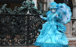 Обои ковка, Венеция, маска, зонт, карнавал, костюм