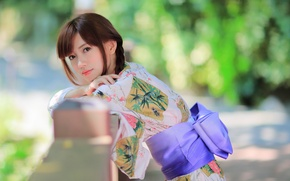 Картинка стиль, одежда, лето, лицо, кимоно, модель