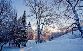 природа,зима,снег,деревья,церковь,свет обои