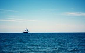 Обои море, яхта, голубое, лето, небо, горизонт