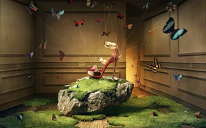 Картинка трава, бабочки, сияние, комната, волшебство, камень, мох, Khuong Nguyen, реклама туфелек, Christian Louboutin, босоножки