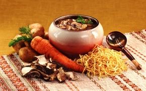 Картинка грибы, ложка, морковь, горшочек, картофель, лапша, рагу