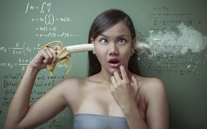 Картинка девушка, азиатка, банан