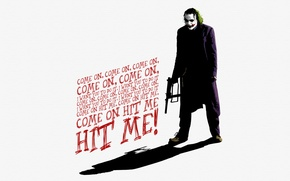Картинка Джокер, костюм, автомат, The Dark Knight, слова, Joker, Heath Ledger, Хит Леджер, Темный Рыцарь