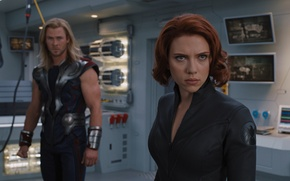 Обои команда, агент, Скарлетт Йоханссон, Marvel, супергерои, Thor, Тор, Крис Хемсворт, Наташа Романофф, Мстители, The Avengers, ...