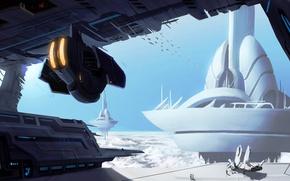 Картинка planet, spaceships, skybase-speedpaint