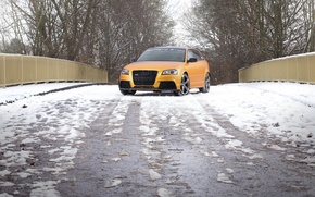 Картинка дорога, снег, Audi, автомобиль, вид спереди, Spirtback, Schwabenfolia, RS3, Gold Orange