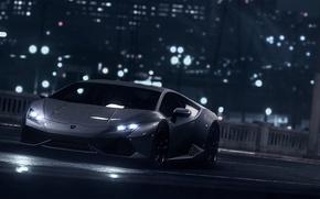 Картинка Lamborghini, Dark, Front, Black, Water, Color, Supercar, Wheels, Garage, Huracan, LP610-4