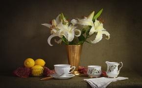 Обои сервиз, натюрморт, элегантность, лилии, лимоны, чашки