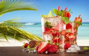 Обои strawberry, paradise, мохито, drink, mojito, пляж, cocktail, sea, море, коктейль, beach, summer, tropical, fresh, клубника