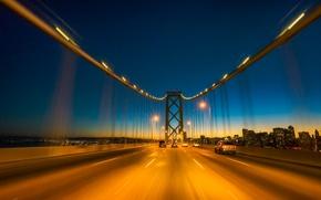 Картинка дорога, машины, мост, вечер, освещение