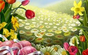 Картинка цветы, пасха, лента, поле, арт, тюльпан, ромашка