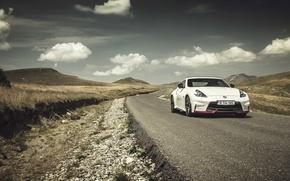 Картинка дорога, облака, холмы, Nissan, 370Z