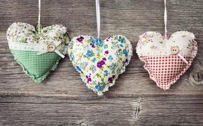 Картинка цветы, сердца, сердечки, ткань, пуговицы, подушечки