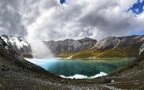 Картинка небо, облака, горы, природа, озеро