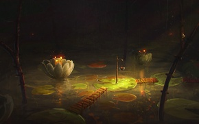 Картинка лес, цветок, вода, ночь, мост, озеро, арт, кувшинка, мостик