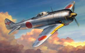 Картинка art, painting, aviation, WW2, Nakajima Ki-44 Shoki (Tojo), WAR