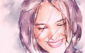 Картинка лицо, улыбка, акварель, певица, Ализе, Alizée
