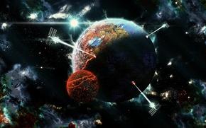 Картинка planet, sputnics, the end