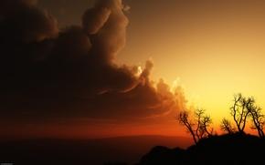 Обои красный, небо, блака, холмы, деревья, закат