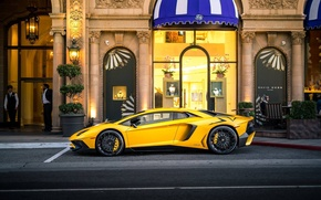 Картинка Lamborghini, Street, Yellow, Aventador, LP-750, Aventador SV