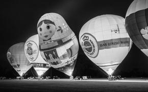 Картинка Glow, Germany, smile, night, people, black and white, b/w, Matrjoschka, Kieler Woche, Balloon Sail, Matroschka
