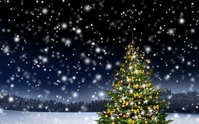 Обои зима, лес, снег, украшения, деревья, снежинки, ночь, природа, праздник, шары, поляна, игрушки, елка, огоньки, желтые, ...
