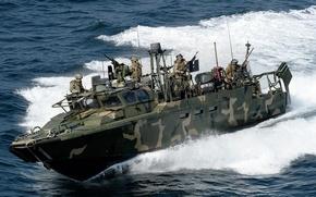 Картинка волны, лодка, солдаты, морская, RCB, командная