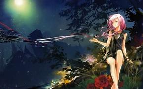 Картинка взгляд, девушка, цветы, ночь, аниме, guilty crown, inori yuzuriha