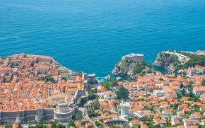 Картинка море, побережье, здания, панорама, Хорватия, Croatia, Дубровник, Dubrovnik, Адриатическое море, Adriatic Sea