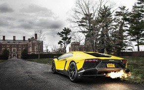 Картинка Lamborghini, Fire, Yellow, Aventador, Supercar, LP720-4, 50 Anniversario Edition