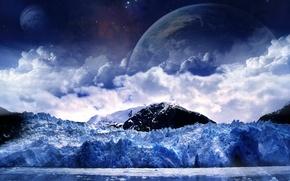 Обои луна, снег, холод, зима
