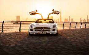 Картинка Mercedes-Benz, спорткар, набережная, sports car, Mercedes-Benz SLS AMG