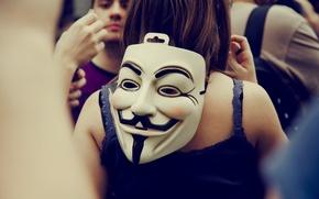 Картинка Цвет, Белый, Усы, Люди, Глаза, Маска, Разное, Anonymous, Толпа