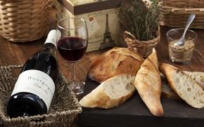 Обои вино, бокал, хлеб, багет