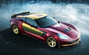 Картинка авто, Железный человек, супергерой, Iron Man, Marvel, Марвел, DC Superheroes, Chevrolet Corvette z06