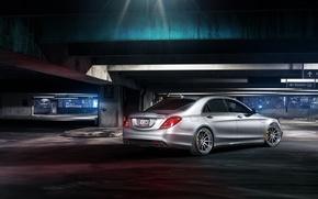 Картинка Mercedes-Benz, night, rear, parking, S63