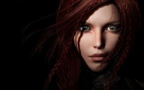 Картинка взгляд, девушка, рендеринг, волосы, рыжая, черный фон