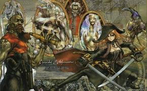Картинка пистолеты, монстры, иероглифы, старик, пираты, рыжая, подзорная труба, сабля, Christabel Athamastus, черный ворон, by Masamune …