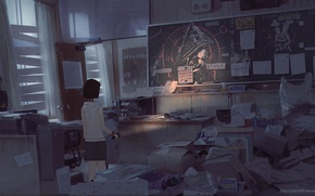 Обои девушка, бумага, комната, стулья, аниме, арт, столы, фонарь, доска, коробки, silent hill, snatti