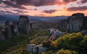 Картинка небо, горы, скалы, метеора, Монастыри Метеоры, грецИя