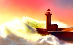 Картинка маяк, painting, lighthouse