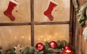 Картинка свет, снег, праздник, новый год, чулки, окно