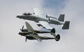 Картинка небо, полет, истребитель, штурмовик, Lightning, A-10, P-38, Thunderbolt II