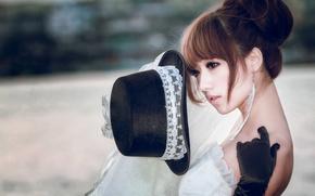 Картинка девушка, стиль, настроение, перчатки, шляпка, азиатка