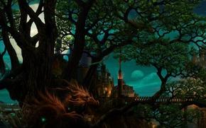 Картинка деревья, мост, замок, дракон, башня, Луна, рога, страж